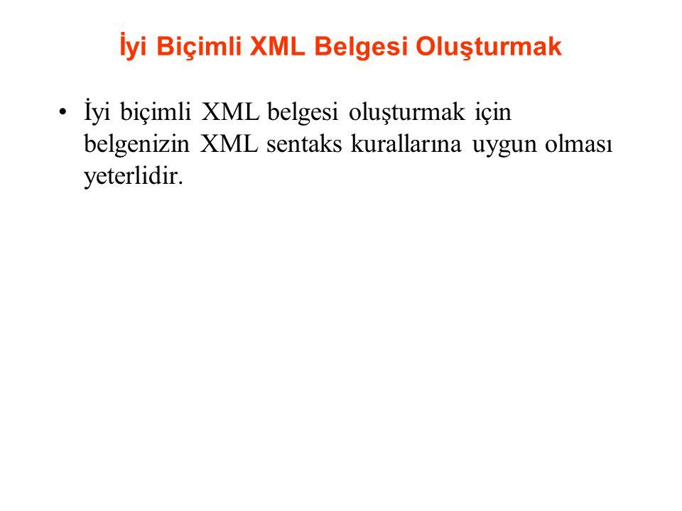 İyi Biçimli XML Belgesi Oluşturmak İyi biçimli XML belgesi oluşturmak için belgenizin XML sentaks kurallarına uygun olması yeterlidir.