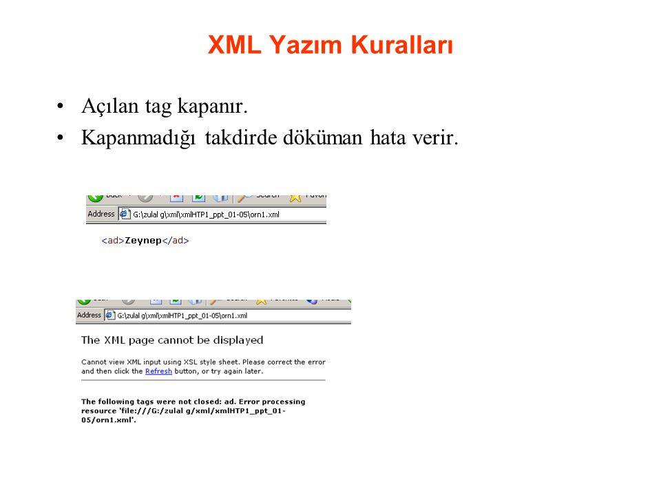 XML Yazım Kuralları Açılan tag kapanır. Kapanmadığı takdirde döküman hata verir.