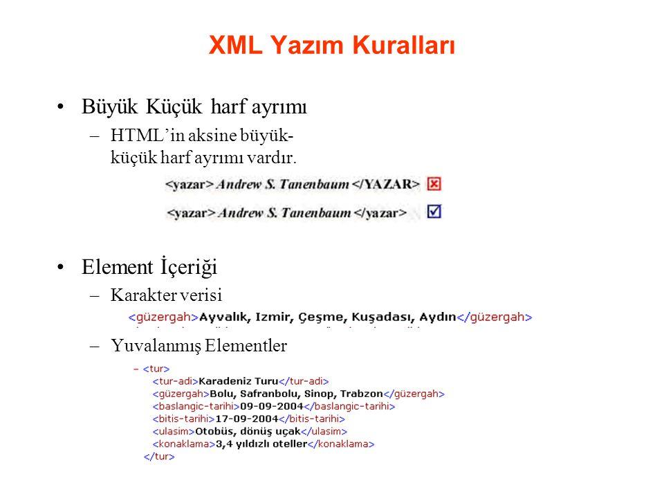 XML Yazım Kuralları Büyük Küçük harf ayrımı –HTML'in aksine büyük- küçük harf ayrımı vardır.