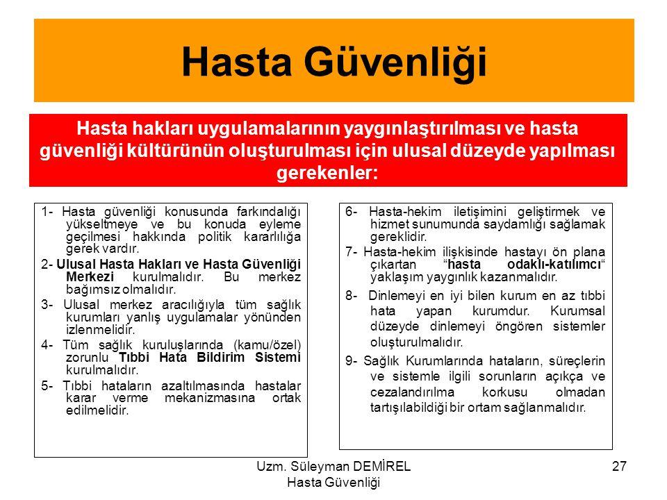 Uzm. Süleyman DEMİREL Hasta Güvenliği 27 1- Hasta güvenliği konusunda farkındalığı yükseltmeye ve bu konuda eyleme geçilmesi hakkında politik kararlıl