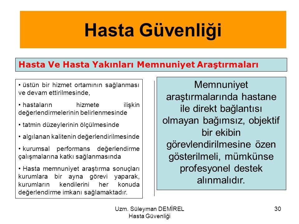 Uzm. Süleyman DEMİREL Hasta Güvenliği 30 Hasta Ve Hasta Yakınları Memnuniyet Araştırmaları üstün bir hizmet ortamının sağlanması ve devam ettirilmesin