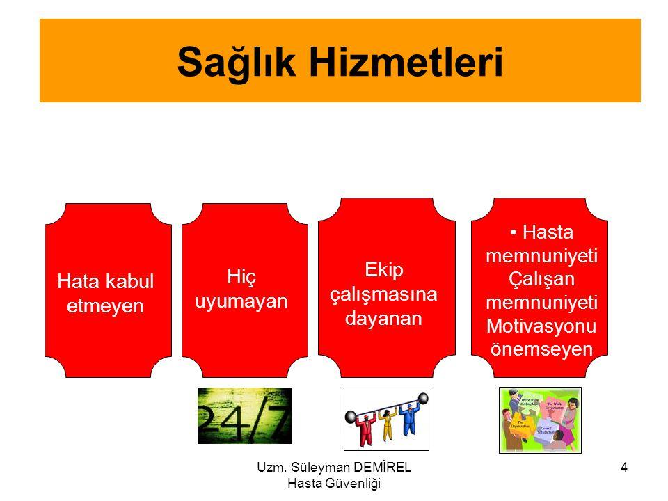 Uzm. Süleyman DEMİREL Hasta Güvenliği 4 Sağlık Hizmetleri Hata kabul etmeyen Ekip çalışmasına dayanan Hasta memnuniyeti Çalışan memnuniyeti Motivasyon
