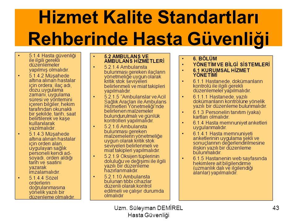 Uzm. Süleyman DEMİREL Hasta Güvenliği 43 5.1.4 Hasta güvenliği ile ilgili gerekli düzenlemeler yapılmış olmalıdır. 5.1.4.2 Müşahede altına alınan hast