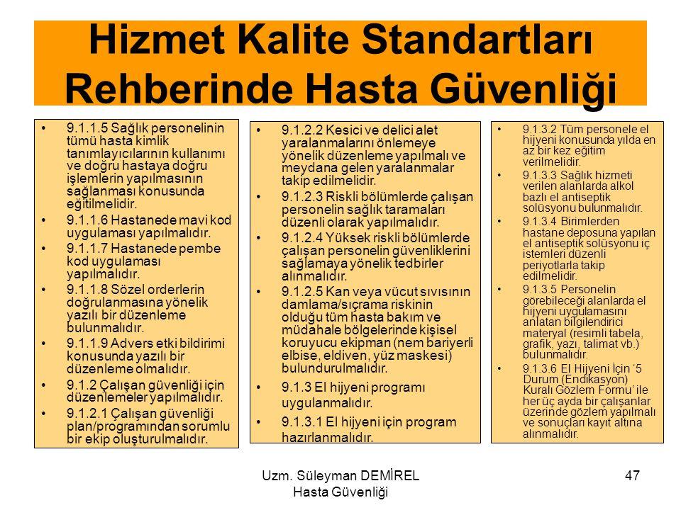 Uzm. Süleyman DEMİREL Hasta Güvenliği 47 9.1.1.5 Sağlık personelinin tümü hasta kimlik tanımlayıcılarının kullanımı ve doğru hastaya doğru işlemlerin