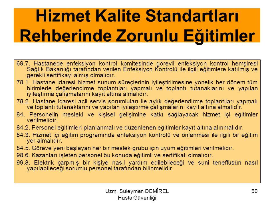 Uzm. Süleyman DEMİREL Hasta Güvenliği 50 69.7. Hastanede enfeksiyon kontrol komitesinde görevli enfeksiyon kontrol hemşiresi Sağlık Bakanlığı tarafınd