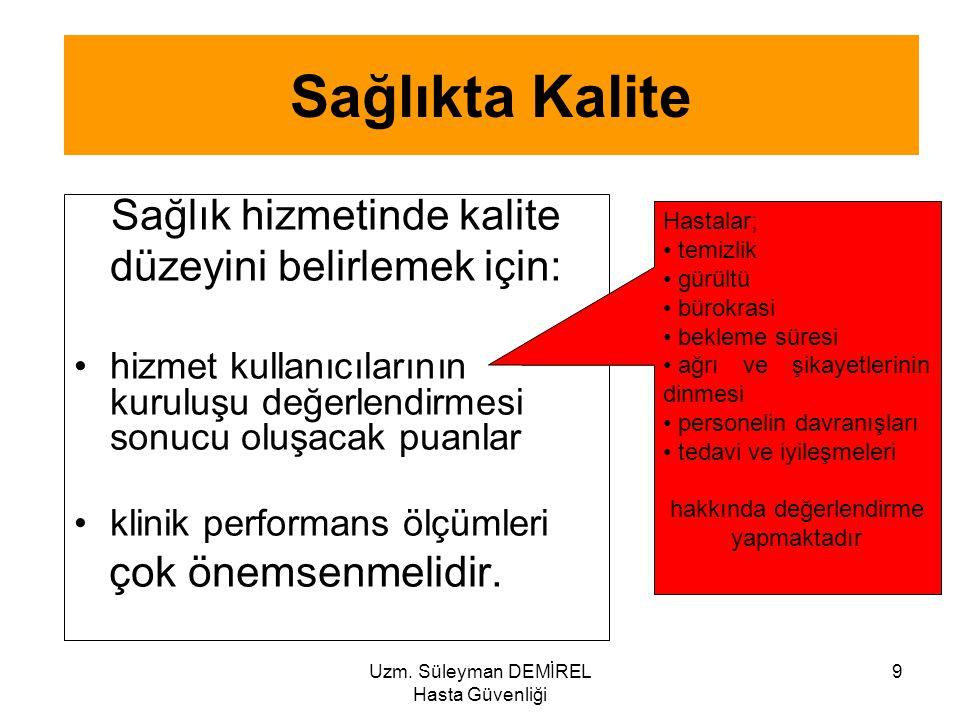 Uzm. Süleyman DEMİREL Hasta Güvenliği 9 Sağlıkta Kalite Sağlık hizmetinde kalite düzeyini belirlemek için: hizmet kullanıcılarının kuruluşu değerlendi