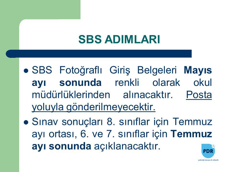 SBS Fotoğraflı Giriş Belgeleri Mayıs ayı sonunda renkli olarak okul müdürlüklerinden alınacaktır. Posta yoluyla gönderilmeyecektir. Sınav sonuçları 8.