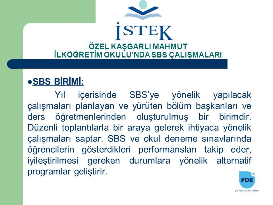 SBS BİRİMİ: Yıl içerisinde SBS'ye yönelik yapılacak çalışmaları planlayan ve yürüten bölüm başkanları ve ders öğretmenlerinden oluşturulmuş bir birimd
