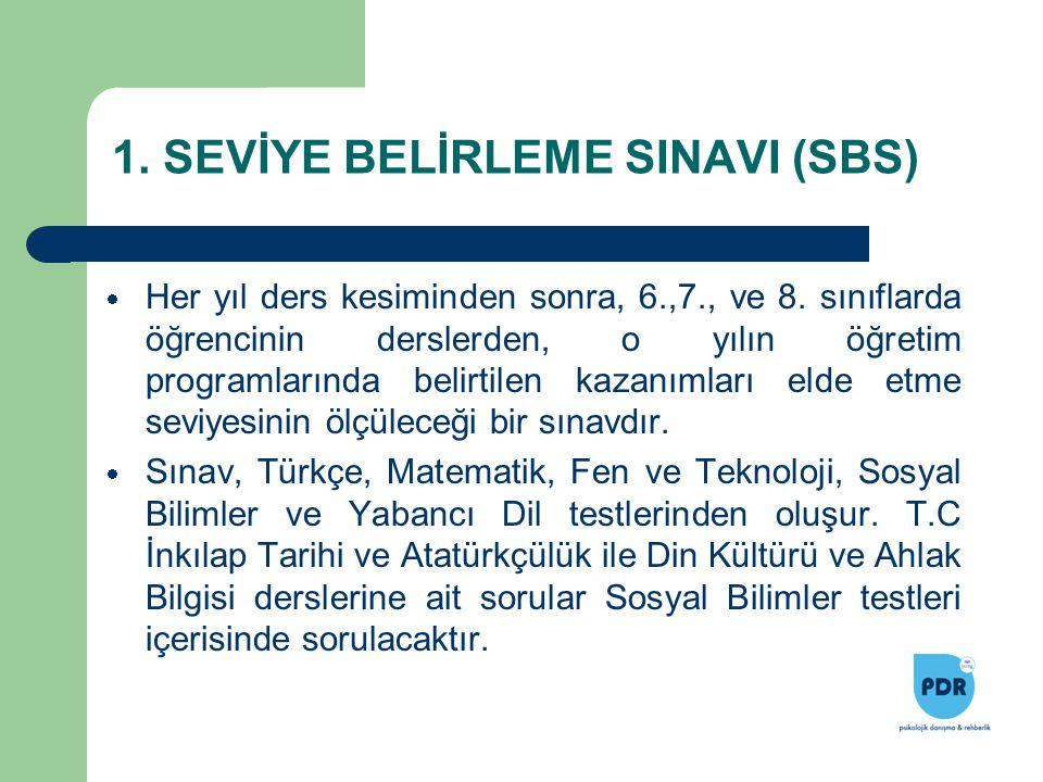 1. SEVİYE BELİRLEME SINAVI (SBS)  Her yıl ders kesiminden sonra, 6.,7., ve 8. sınıflarda öğrencinin derslerden, o yılın öğretim programlarında belirt