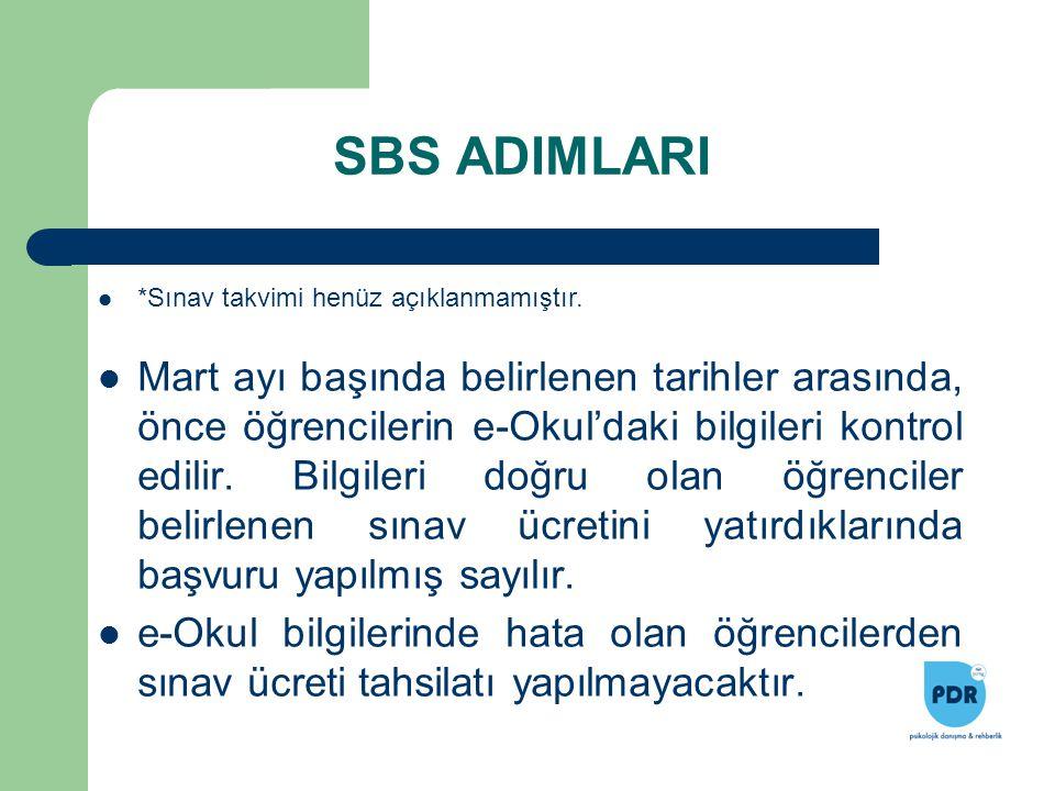 SBS ADIMLARI Mart ayı başında belirlenen tarihler arasında, önce öğrencilerin e-Okul'daki bilgileri kontrol edilir. Bilgileri doğru olan öğrenciler be