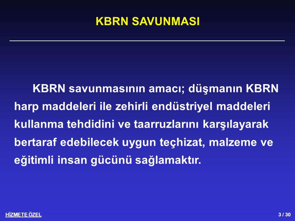 HİZMETE ÖZEL 4 / 30 KBRN savunmasının beş temel unsuru vardır.