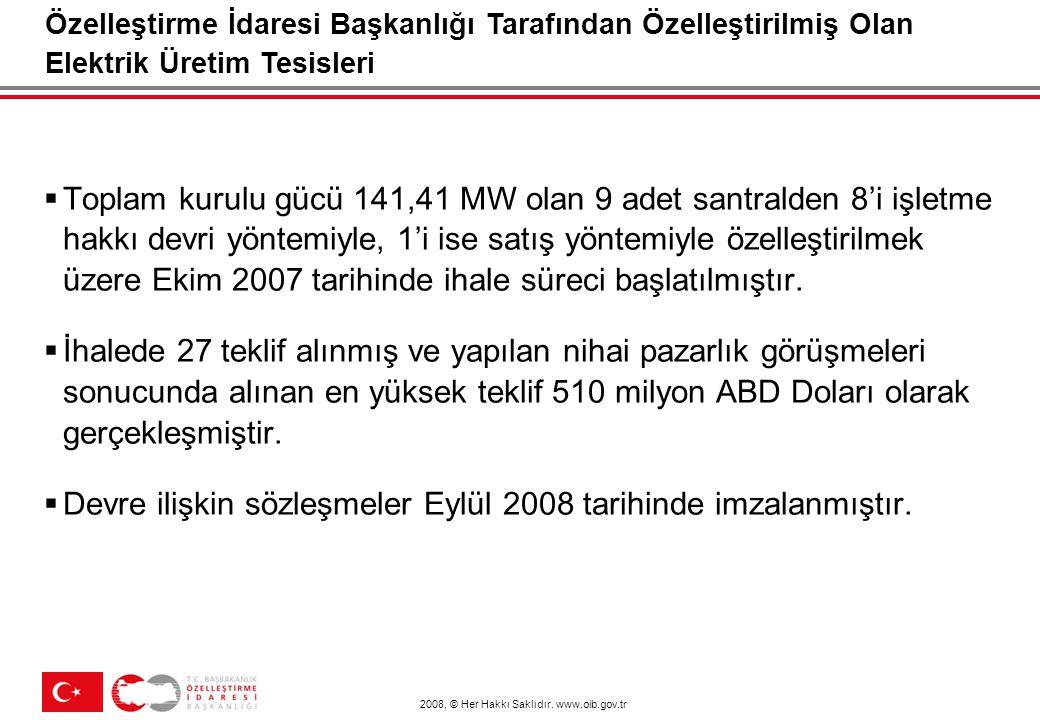 2008, © Her Hakkı Saklıdır. www.oib.gov.tr  Toplam kurulu gücü 141,41 MW olan 9 adet santralden 8'i işletme hakkı devri yöntemiyle, 1'i ise satış yön