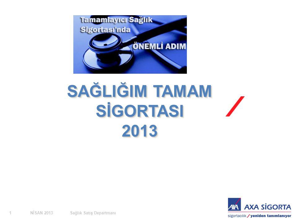 NİSAN 2013Sağlık Satış Departmanı1 SAĞLIĞIM TAMAM SİGORTASI 2013 2013