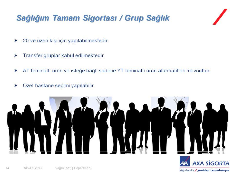 NİSAN 2013Sağlık Satış Departmanı14 Sağlığım Tamam Sigortası / Grup Sağlık  20 ve üzeri kişi için yapılabilmektedir.