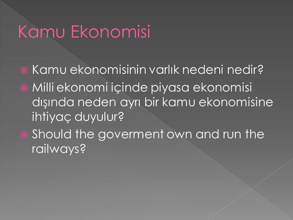 Kamu ekonomisinin varlık nedeni nedir?  Milli ekonomi içinde piyasa ekonomisi dışında neden ayrı bir kamu ekonomisine ihtiyaç duyulur?  Should the