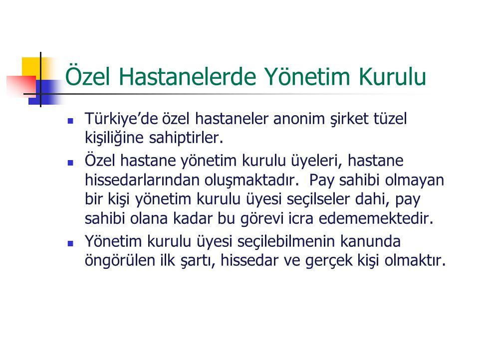 Özel Hastanelerde Yönetim Kurulu Türkiye'de özel hastaneler anonim şirket tüzel kişiliğine sahiptirler. Özel hastane yönetim kurulu üyeleri, hastane h