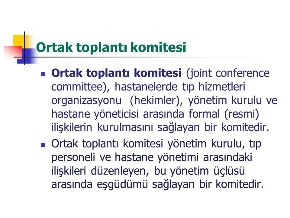 Ortak toplantı komitesi Ortak toplantı komitesi (joint conference committee), hastanelerde tıp hizmetleri organizasyonu (hekimler), yönetim kurulu ve