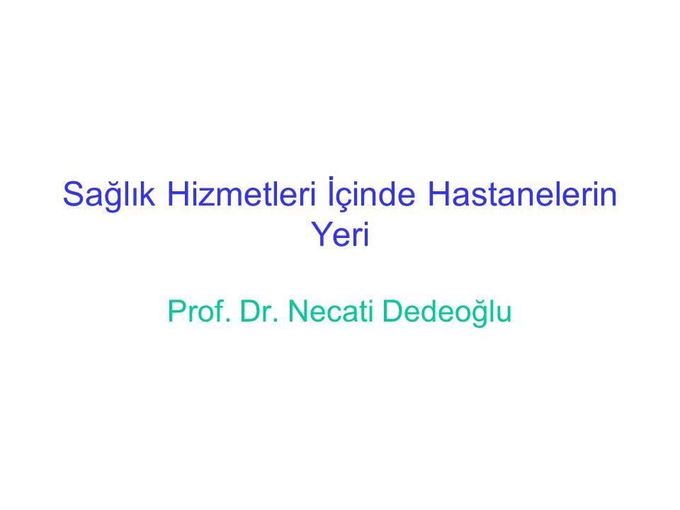 Sağlık Hizmetleri İçinde Hastanelerin Yeri Prof. Dr. Necati Dedeoğlu