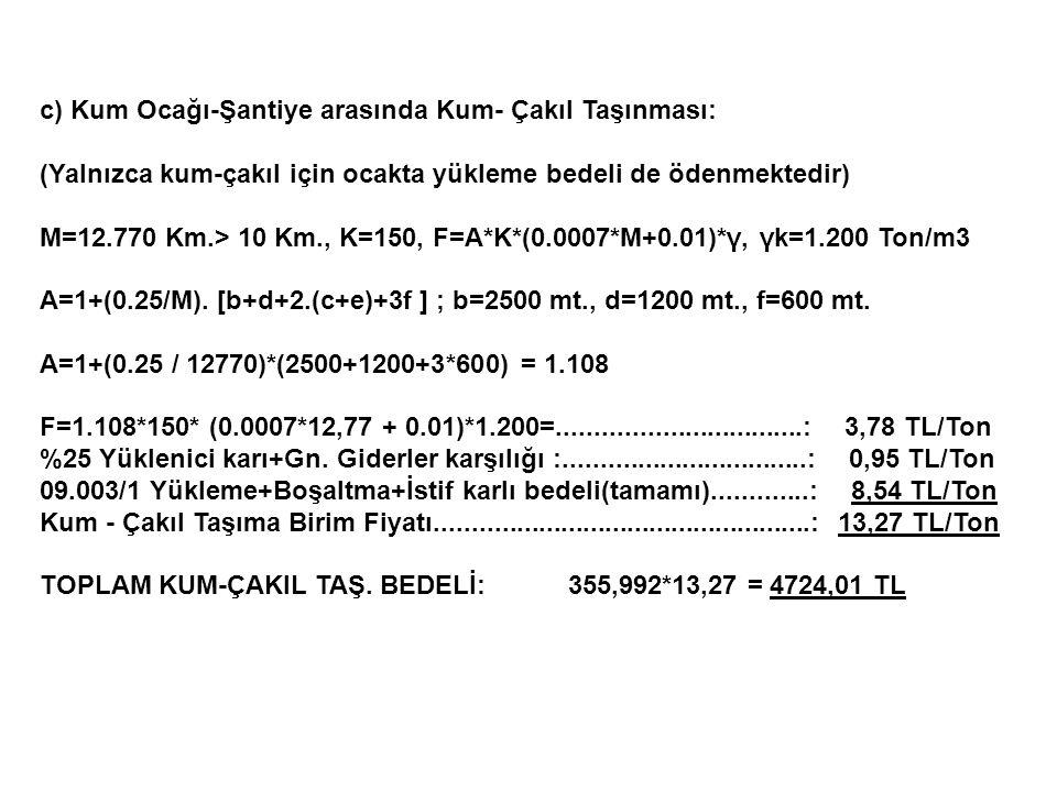 c) Kum Ocağı-Şantiye arasında Kum- Çakıl Taşınması: (Yalnızca kum-çakıl için ocakta yükleme bedeli de ödenmektedir) M=12.770 Km.> 10 Km., K=150, F=A*K