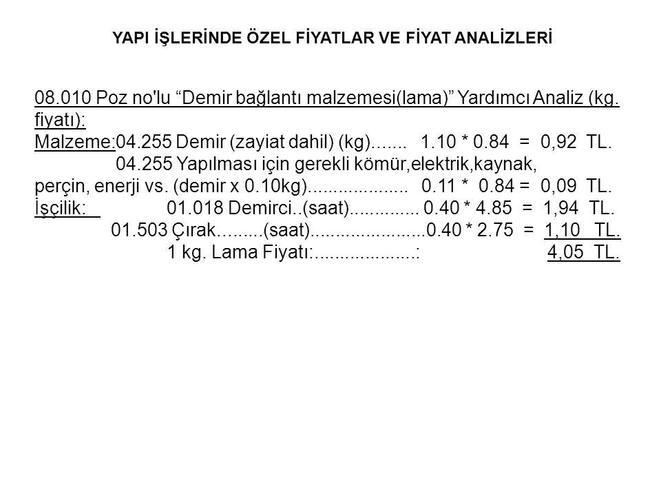 """08.010 Poz no'lu """"Demir bağlantı malzemesi(lama)"""" Yardımcı Analiz (kg. fiyatı): Malzeme:04.255 Demir (zayiat dahil) (kg)....... 1.10 * 0.84 = 0,92 TL."""