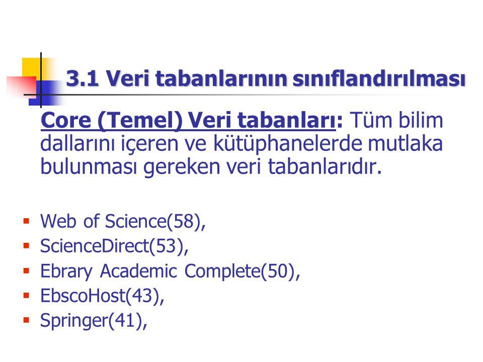 3.1 Veri tabanlarının sınıflandırılması Core (Temel) Veri tabanları: Tüm bilim dallarını içeren ve kütüphanelerde mutlaka bulunması gereken veri tabanlarıdır.