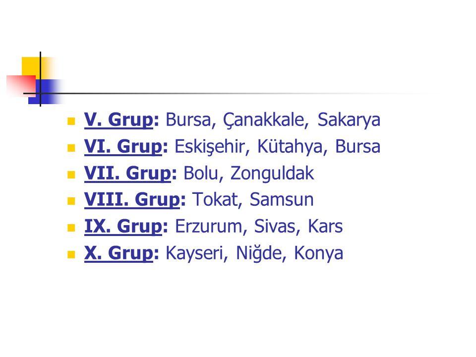 V. Grup: Bursa, Çanakkale, Sakarya VI. Grup: Eskişehir, Kütahya, Bursa VII. Grup: Bolu, Zonguldak VIII. Grup: Tokat, Samsun IX. Grup: Erzurum, Sivas,