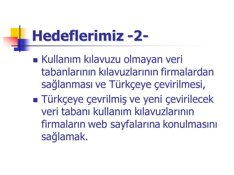 Hedeflerimiz -2- Kullanım kılavuzu olmayan veri tabanlarının kılavuzlarının firmalardan sağlanması ve Türkçeye çevirilmesi, Türkçeye çevrilmiş ve yeni çevirilecek veri tabanı kullanım kılavuzlarının firmaların web sayfalarına konulmasını sağlamak.