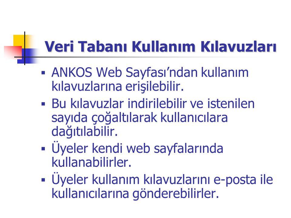 Veri Tabanı Kullanım Kılavuzları  ANKOS Web Sayfası'ndan kullanım kılavuzlarına erişilebilir.  Bu kılavuzlar indirilebilir ve istenilen sayıda çoğal