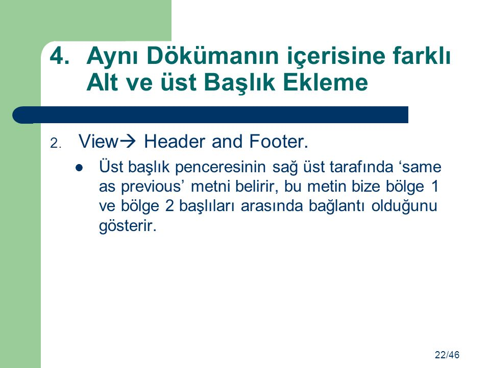 2.View  Header and Footer.
