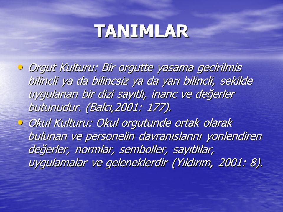 TANIMLAR Orgut Kulturu: Bir orgutte yasama gecirilmis bilincli ya da bilincsiz ya da yarı bilincli, sekilde uygulanan bir dizi sayıtlı, inanc ve değer