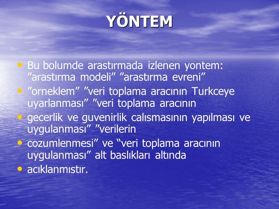 """YÖNTEM Bu bolumde arastırmada izlenen yontem: """"arastırma modeli"""" """"arastırma evreni"""" """"orneklem"""" """"veri toplama aracının Turkceye uyarlanması"""" """"veri topl"""