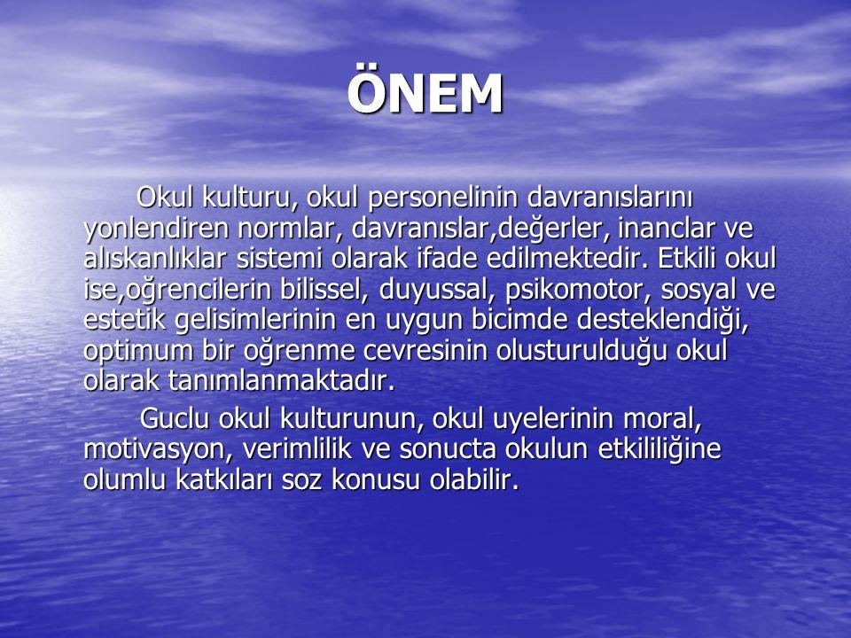 ÖNEM ÖNEM Bu arastırma, Erzurum il merkezinde bulunan ilkoğretim okullarında olusturulan okul kulturu ile okulların etkililik duzeyine yonelik yonetici ve oğretmen algı duzeylerini ortaya koyarak, okul kulturu ile etkililik arasındaki iliskinin tespit edilmesi acısından onemlidir.