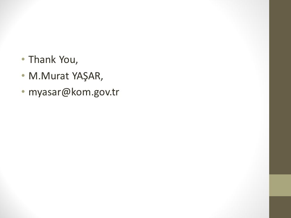 Thank You, M.Murat YAŞAR, myasar@kom.gov.tr