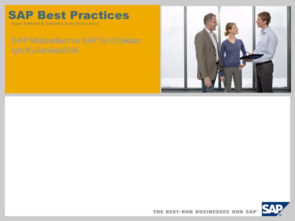 SAP Best Practices Hazır Sektörel & Sektörler Arası Know-How SAP Müşterileri ve SAP İş Ortakları için Kullanılabilirlik