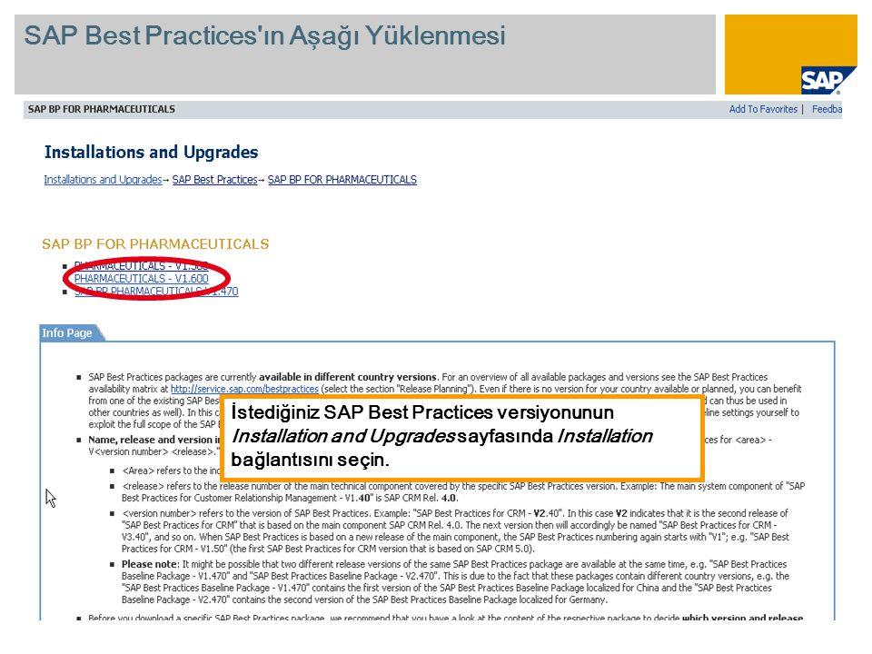 İstediğiniz SAP Best Practices versiyonunun Installation and Upgrades sayfasında Installation bağlantısını seçin.