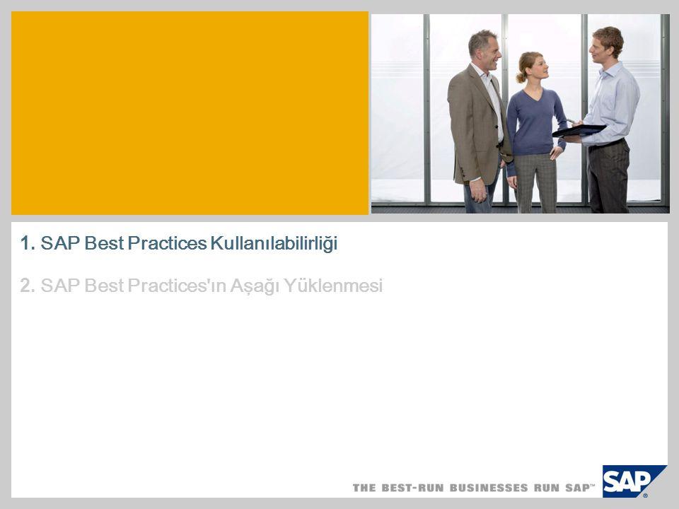 1. SAP Best Practices Kullanılabilirliği 2. SAP Best Practices ın Aşağı Yüklenmesi
