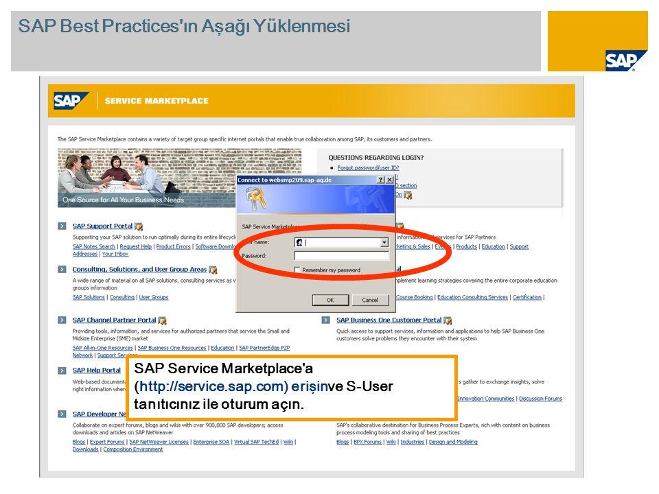 SAP Service Marketplace a (http://service.sap.com) erişinve S-User tanıtıcınız ile oturum açın.