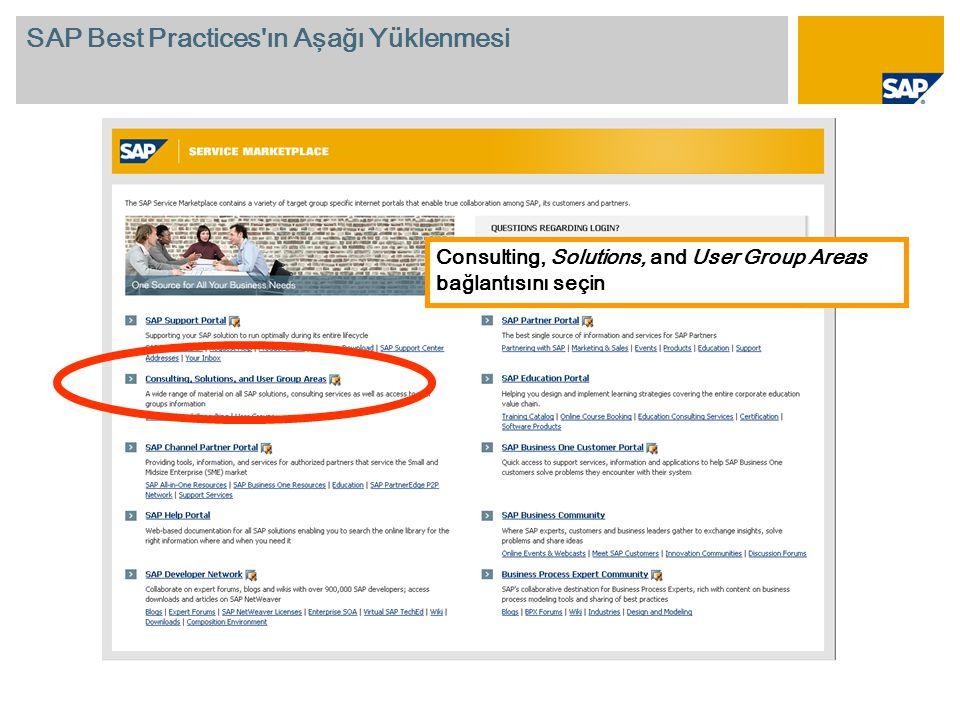 Consulting, Solutions, and User Group Areas bağlantısını seçin SAP Best Practices ın Aşağı Yüklenmesi