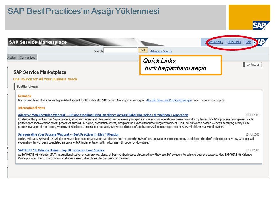 Quick Links hızlı bağlantısını seçin SAP Best Practices ın Aşağı Yüklenmesi