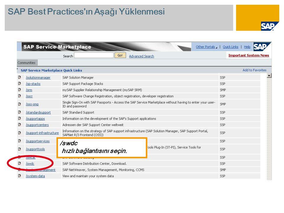 /swdc hızlı bağlantısını seçin. SAP Best Practices ın Aşağı Yüklenmesi