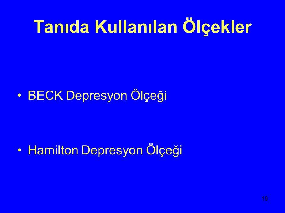 20 Depresyonun Tedavisi BİLİŞSEL DAVRANIŞ TERAPİSİ ELEKTROKONVULZİF TEDAVİ FARMAKOTERAPİ: 1)TRİSİKLİK ANTİDEPRESAN 2)SELEKTİF SERATONİN GERİ ALIM İNHB(SSRI) 3)SERATONİN NORADRENALİN GERİ ALIM İNHB(SNRI) 4)NORADRENALİN GERİ ALIM İNHB(NARI) 5)MONOAMİN OKSİDAZ İNHB(MAOI)