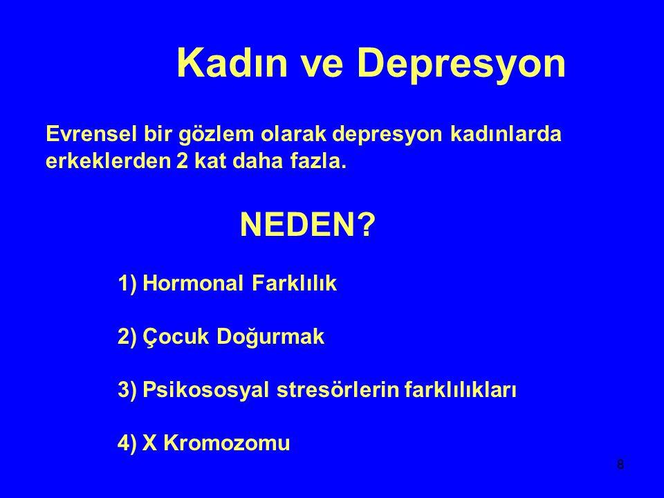 9 Depresyon ve Yaş 20-50 yaşlar Ortalama 3.dekat 20'li yaşlarda artış var