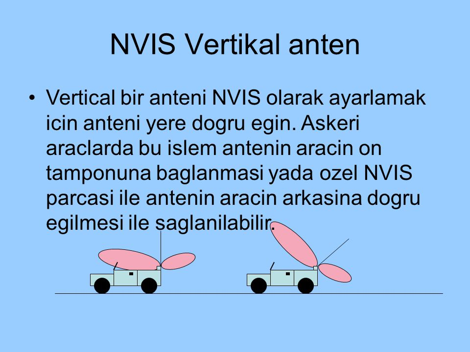 NVIS Vertikal anten Vertical bir anteni NVIS olarak ayarlamak icin anteni yere dogru egin. Askeri araclarda bu islem antenin aracin on tamponuna bagla