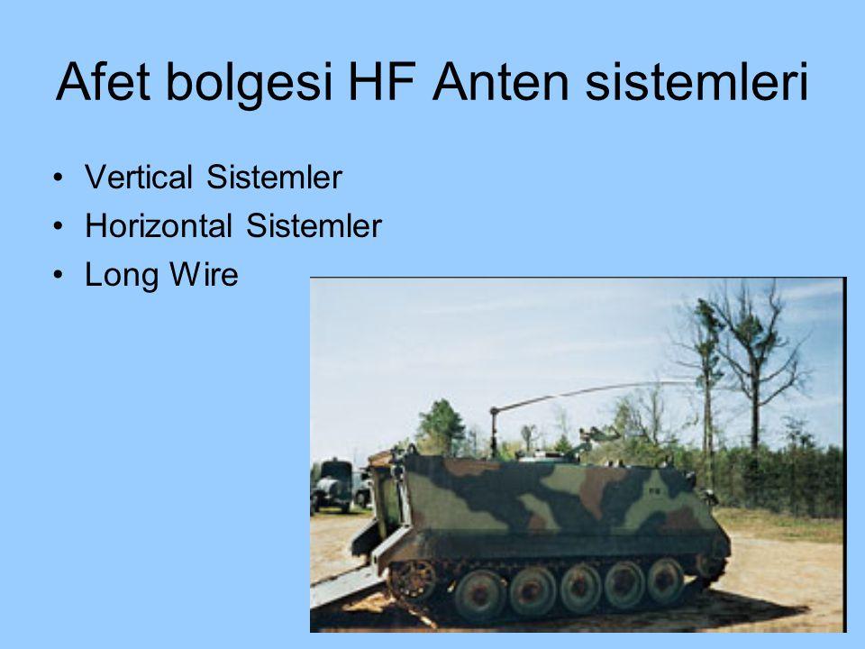 Afet bolgesi HF Anten sistemleri Vertical Sistemler Horizontal Sistemler Long Wire