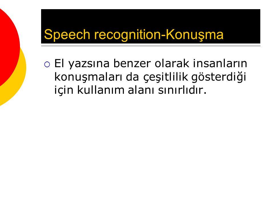 Speech recognition-Konuşma  El yazsına benzer olarak insanların konuşmaları da çeşitlilik gösterdiği için kullanım alanı sınırlıdır.