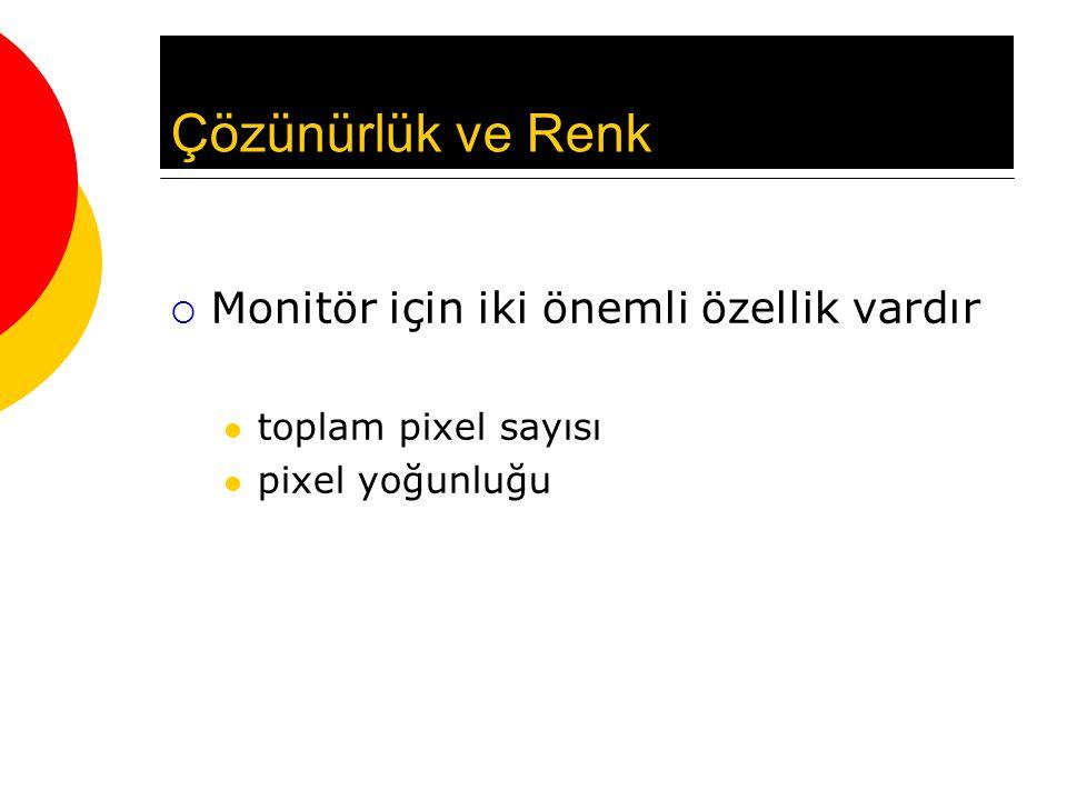 Çözünürlük ve Renk  Monitör için iki önemli özellik vardır toplam pixel sayısı pixel yoğunluğu