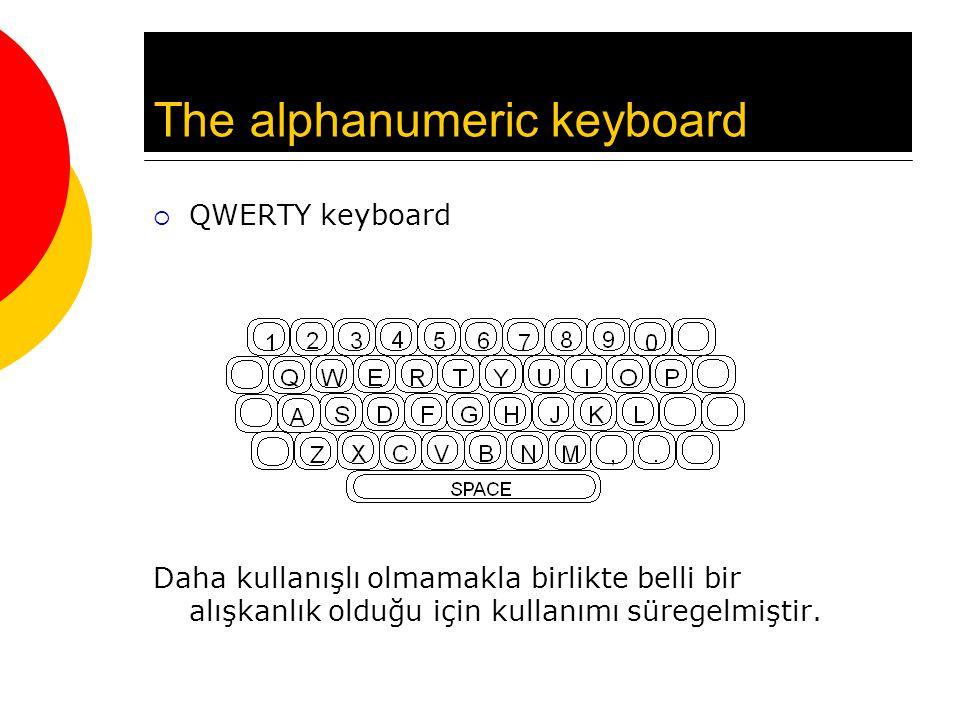 The alphanumeric keyboard  QWERTY keyboard Daha kullanışlı olmamakla birlikte belli bir alışkanlık olduğu için kullanımı süregelmiştir.