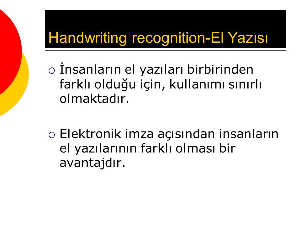 Handwriting recognition-El Yazısı  İnsanların el yazıları birbirinden farklı olduğu için, kullanımı sınırlı olmaktadır.