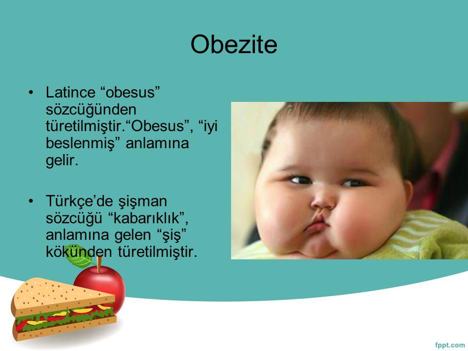"""Obezite Latince """"obesus"""" sözcüğünden türetilmiştir.""""Obesus"""", """"iyi beslenmiş"""" anlamına gelir. Türkçe'de şişman sözcüğü """"kabarıklık"""", anlamına gelen """"şi"""
