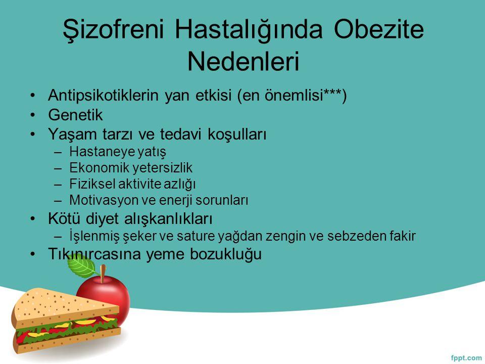 Şizofreni Hastalığında Obezite Nedenleri Antipsikotiklerin yan etkisi (en önemlisi***) Genetik Yaşam tarzı ve tedavi koşulları –Hastaneye yatış –Ekono